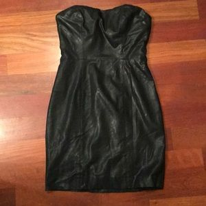 Black strapless leather little black dress